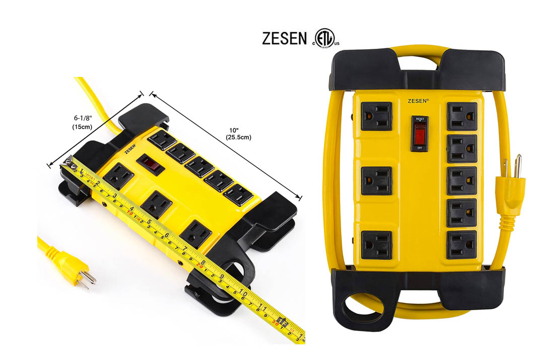 ZESEN 8 Outlet Heavy Duty Metal Workshop Surge Protector Power Strip