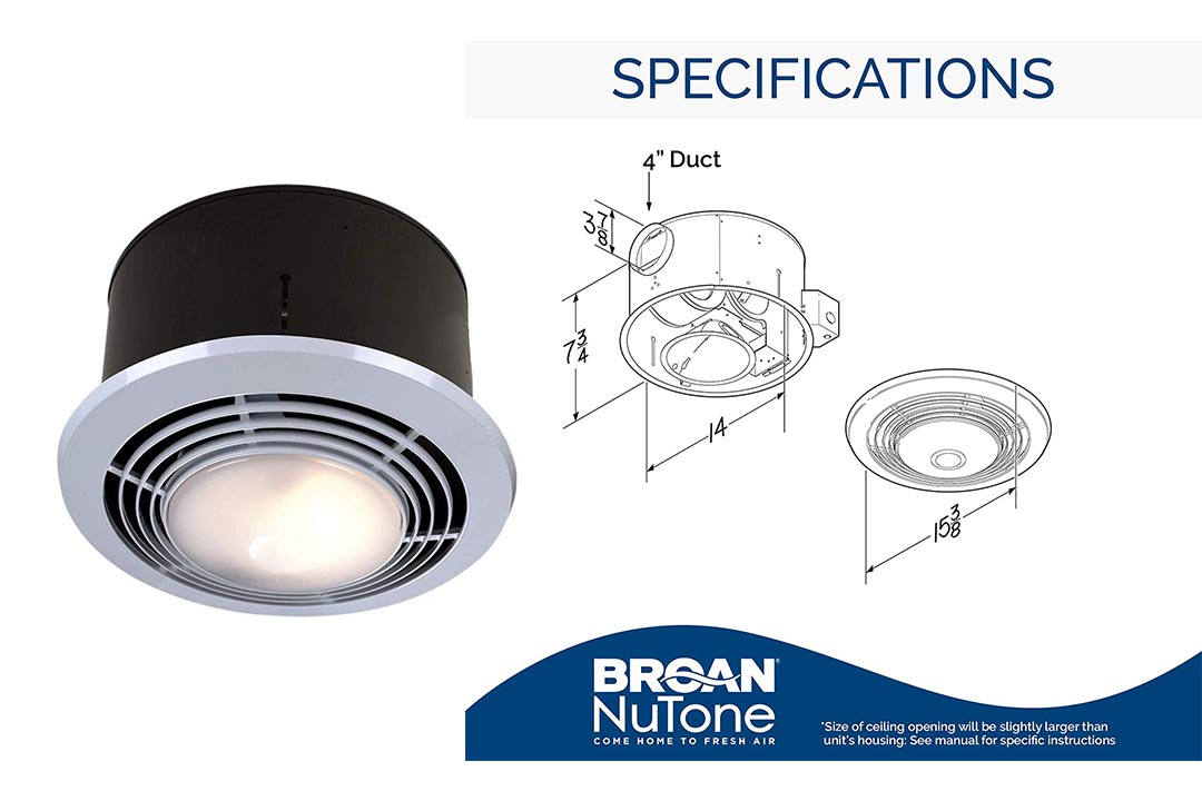 Broan-Nutone 9093WH Exhaust Fan, Heater, and Light Combo