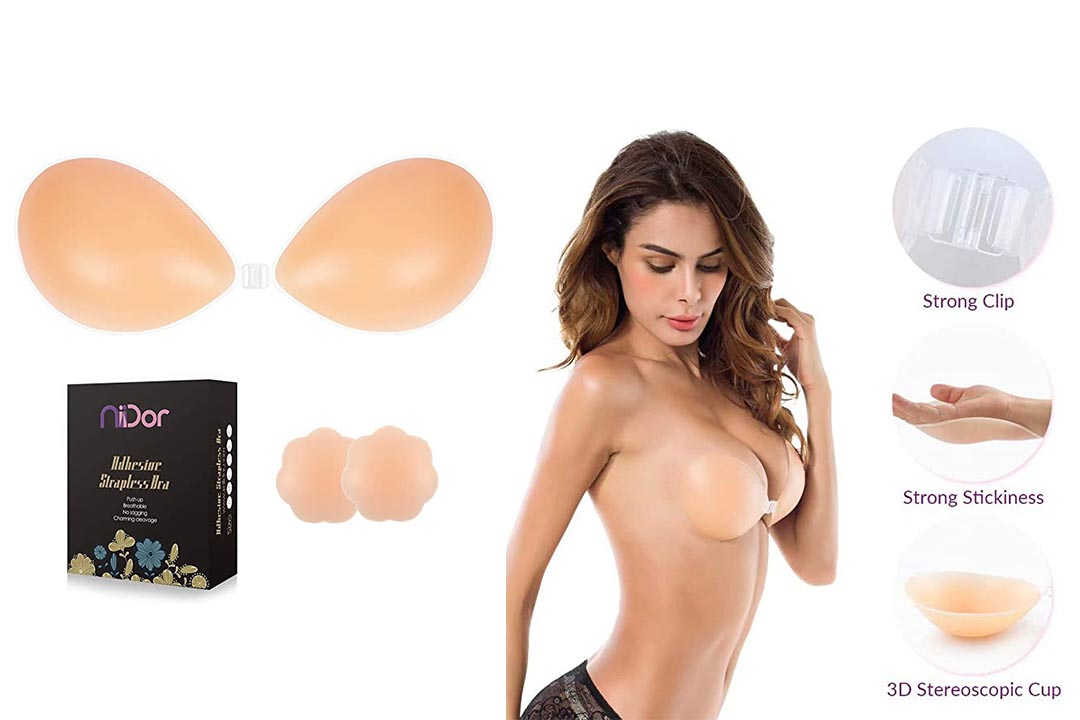 Niidor Adhesive Bra Strapless Sticky Invisible Push Up Silicone Bra