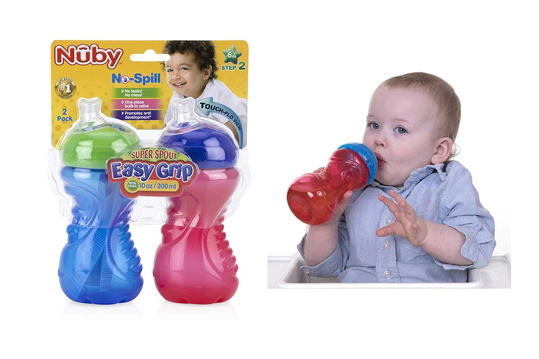 Nuby 2-Pack No-Spill Super Spout Easy Grip Cup