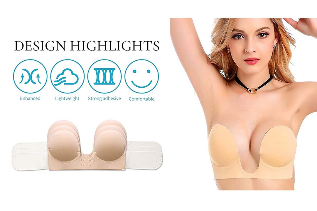 MITALOO Push Up Strapless Sticky Adhesive Invisible Backless Bras Plunge