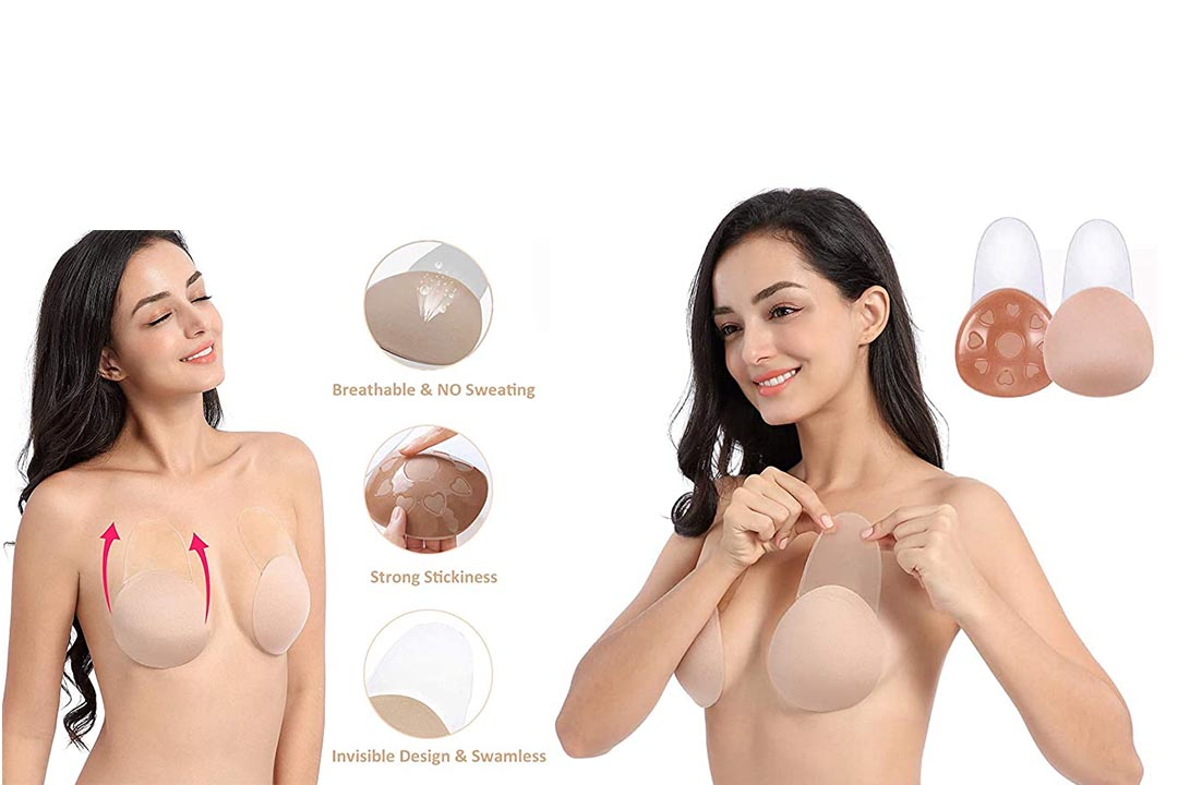 UOTJCNR Breast Lift Strapless Backless Petals Nipples Covers Push Up Self Adhesive