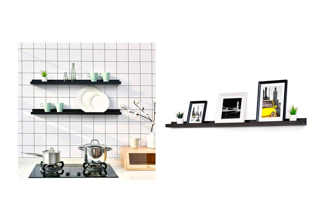 WELLAND Espresso Picture Ledge Shelf Display Wall ShelfWELLAND Espresso Picture Ledge Shelf Display Wall Shelf